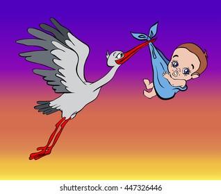 stork brings the baby in the sky