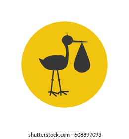 Stork brought the baby silhouette on the yellow background. Vector illustration