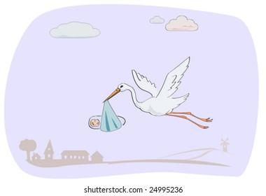 stork caring newborn baby