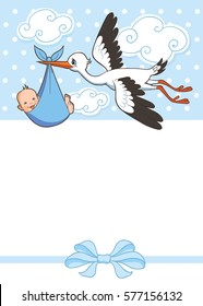 Stork carries baby boy
