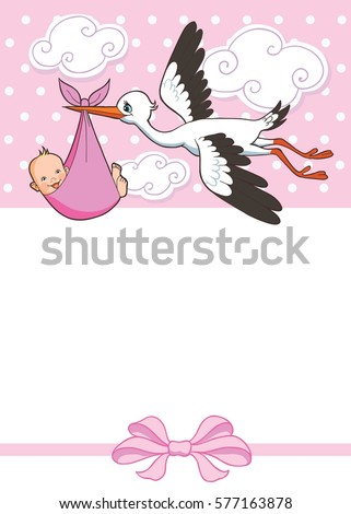 stork carries baby girl invitation template stock vector royalty