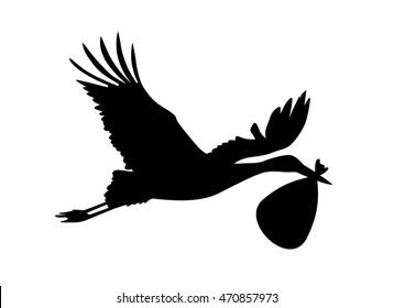 Stork carries newborn baby in a bag in its beak