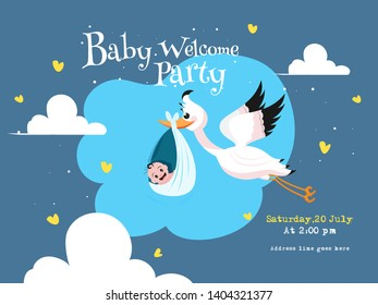 Stork carrying a baby in a bag and event details for Baby Welcome Party invitation card design.