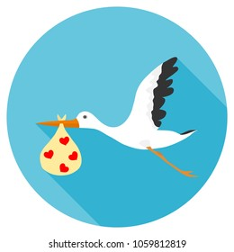 A stork is carrying a baby, a stork in its beak carries a package with a child, a stork and a child. Flat design, vector illustration, vector.