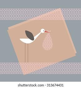 Stork carrying baby in cloth bag. Scrapbook design elements. Baby shower design elements.