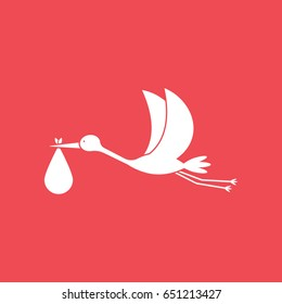 Stork Carrying Child Flat Icon On Red Background