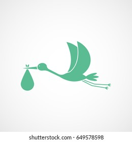 Stork Carrying Child Green Flat Icon On White Background