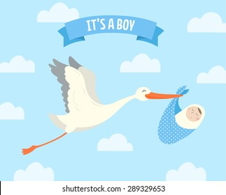 Stork carrying a cute baby. It's a boy! Vector illustration.