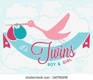 Stork Carrying Newborn Twins. It's Twins Vector Illustration in Vintage Style