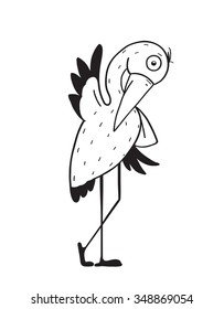Stork Cartoon Childish Character for Kids. Stork flat linear design. Mascot bird, linear animal, newborn delivery, vector illustration