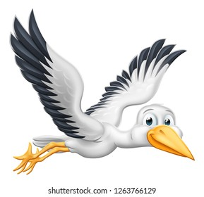A stork or crane cartoon bird flying through the air