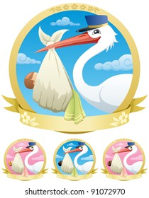 Stork is delivering baby. The illustration is in 4 different versions.