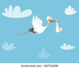 Stork flying with baby. Birthday
