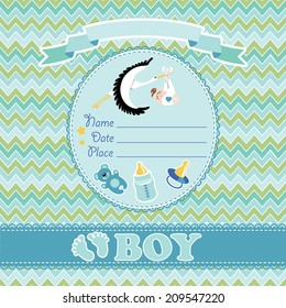 Stork  flying with European newborn baby boy.Baby shower card,invitation  with label,copy space,dummy,Teddy bear,bottle on zigzag background.Vector Illustration.