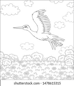 Stork flying over a meadow with wild flowers on a sunny summer day, black and white vector illustration in a cartoon style for a coloring book
