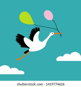 Stork flying in the sky and holding air balloons. A cute character for nursery, babyshower, poster or greeting card. Flat cartoon style. Vector