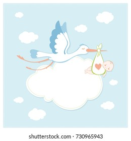 Stork. Happy birthday. Baby shower invitation card. Vector illustration.