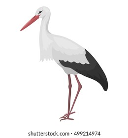 Stork icon in cartoon style isolated on white background. Bird symbol stock vector illustration.