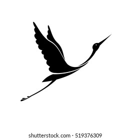 Stork icon. Logo. Black silhouette on the white background. Vector.