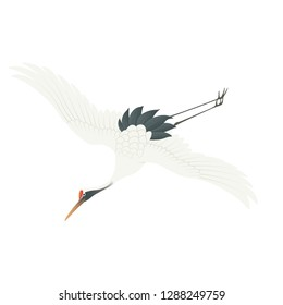 Stork icon. Logo. Vector - bird migration - cranes in flying -