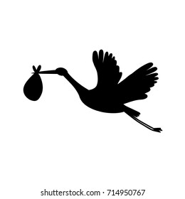 Stork logo silhouette. Black bird flying and carrying a bundle isolated on white. Symbol for news, delivery, pregnancy, baby shower. Vector illustration.
