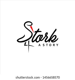 stork logo simple black typography standing vector for animal corporate graphic design or print art template idea