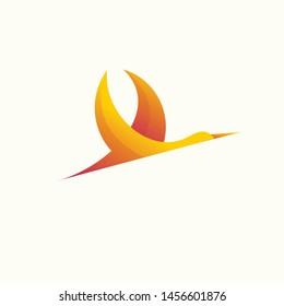 stork modern logo colorful illustration