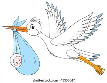 Stork and newborn