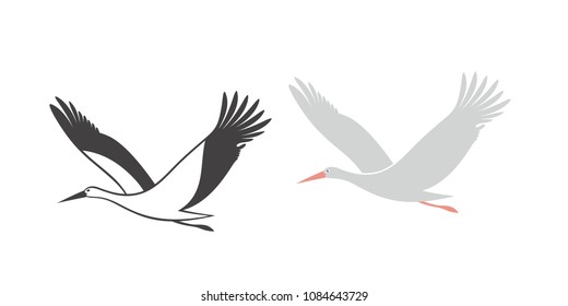 Stork set. Isolated stork on white background. EPS 10. Vector illustration