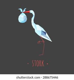 Stork stylized triangle polygonal model