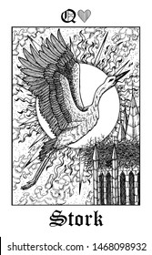 Stork. Tarot card from vector Lenormand Gothic Mysteries oracle deck. Black and white engraved illustration. Fantasy and mystic line art drawing. Gothic, occult and esoteric background