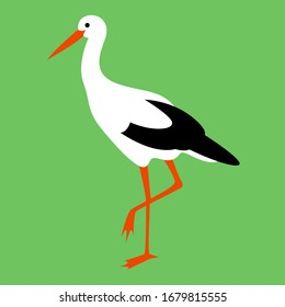 stork walking , vector illustration, flat style, profile side