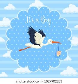 Storkbaby on blue background illustration