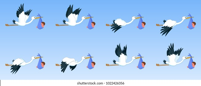 Storks with baby flying animation sprite sheet