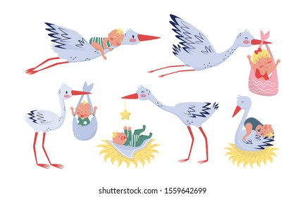 Storks And Cute Newborn Boys And Girls In Colored Overalls Vector Illustration Set Isolated On White Background