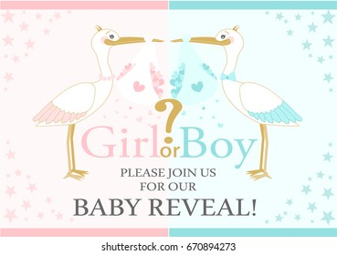 Storks are flying with love. Baby Gender Reveal  party. Baby shower