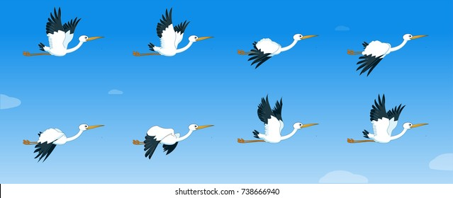 Storks flying sequence for animation