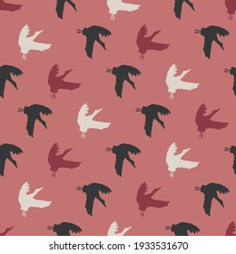 Storks Silhouette in Red Color Palette Vector Seamless Pattern can be use for background and apparel design