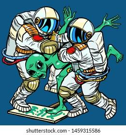 Storm Area 51. Astronauts arrested an alien. Pop art retro vector illustration drawing