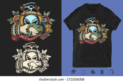 Storm area 51. Paleocontact. Aliens and people. UFO, conspiracy theory. Creative print for dark clothes. T-shirt design. Template for posters, textiles, apparels