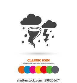 Storm bad weather sign icon. Clouds with thunderstorm. Gale hurricane symbol. Destruction and disaster from wind. Insurance symbol. Classic flat icon. Colored circles. Vector