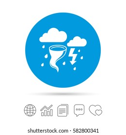 Storm bad weather sign icon. Clouds with thunderstorm. Gale hurricane symbol. Destruction and disaster from wind. Insurance symbol. Copy files, chat speech bubble and chart web icons. Vector