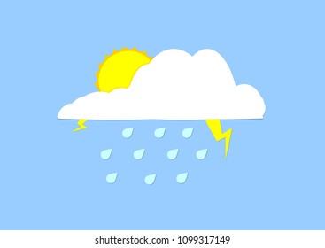 Storm cloud icons, flat design template, lightning bolt, vector illustration