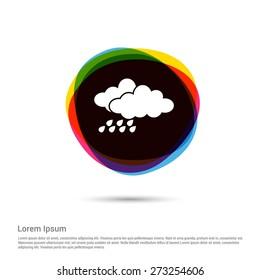 Storm, Cloud & rain Icon, White pictogram icon creative circle Multicolor background. Vector illustration. Flat icon design style