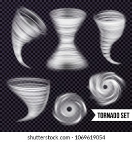 Storm hurricane tornado cyclone realistic set with isolated images of airy spiral swirls on transparent background vector illustration