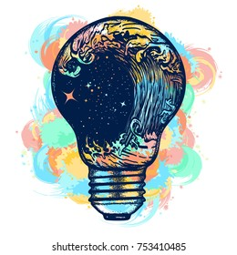 Storm in a light bulb color tattoo. Great outdoors. Symbol of adventures boho style water color splashes