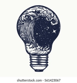 Storm in a light bulb tattoo. Symbol of adventures boho style. Great outdoors. Tsunami waves t-shirt design