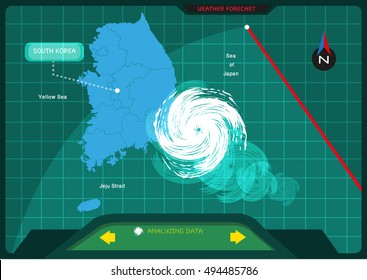 A storm making a landfall in South Korea viewed from a  satellite weather forecast app concept. Editable Clip Art.