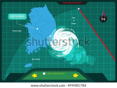 Making A Weather Map.Storm Making Landfall South Korea Viewed Stock Vector Royalty Free