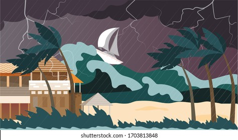 Storm natural disaster, water cataclysm high wave, destroyed beach, flat vector illustration. Dangerous sea, ocean, tropical tsunami, boat, yacht sinking, thunderstorm, gusty wind